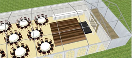 Marquee Catering Section 3D planing view