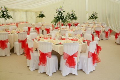 White and Red Chair Covers