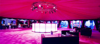 Round Marquee with Pink Light Interior