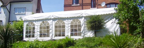 White Marquee in Terraced Garden